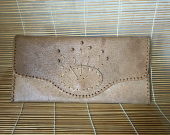 Vintage Tan Leather Tooled Handcrafted Bag Clutch