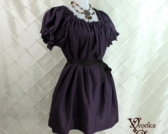 "Cora Chemise in Eggplant Cotton - Sz. M - Bust 36""-42"""
