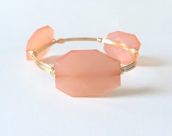 Peach Wire Wrapped Bangle Bracelet