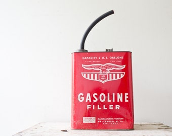 Vintage Red Gas Canister Metal Gas Can Small Gas Canister Gasoline Filler 2 Gallon Eagle