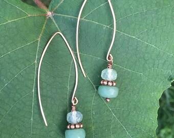 Green with Envy Amazonite & Prehnite copper earrings