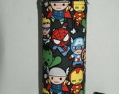 """Insulated Water Bottle Holder for 40oz Hydro Flask / Thermos with Interchangeble Handle/Strap Made witth US Fabric """"Marvel Kawaii"""""""