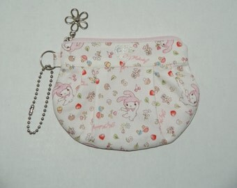 "Gathered Zipper Pouch / Card and Coin purse Made with Japanese Cotton Oxford Fabric ""My Melody - Mini Hearts and Flowers"""