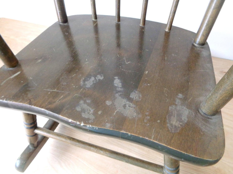 Superior Vintage Dark Wood Childrenu0027s Rocking Chair   Mid Century Hedstrom Oak Hill  Furniture