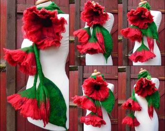 felted scarf necklace flower, felted flower necklace, felted wool, art to wear scarf, lariat, red, made to order,lagenlook,  custom order
