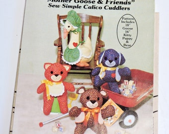 Stuffed Animal Pattern, Gingham Goose Stuffed Animal Cloth Toys, Teddy Bear ,Mother Goose, Dog, Cat, Vintage Uncut Pattern itsyourcountry