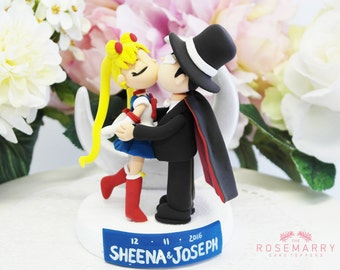 Custom Cake Topper - Sailor moon tuxedo mask kiss