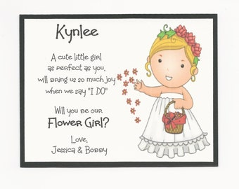 BLONDE Kynlee- Will you be my Flower Girl Flat card - Personalized custom