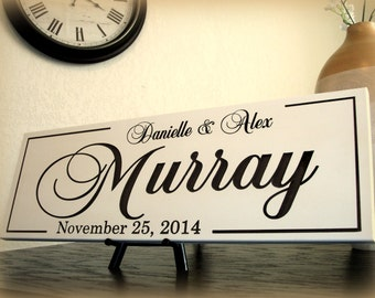 Wedding Gift Wood Sign Personalized Family Name Sign Wood Custom Carved Last Name Sign Plaque Shower Gift