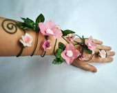 pink flower arm cuff, slave bracelet whimsical woodland fairy arm cuff
