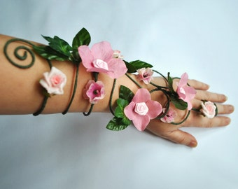 pink flower arm cuff, slave bracelet whimsical woodland fairy arm cuff