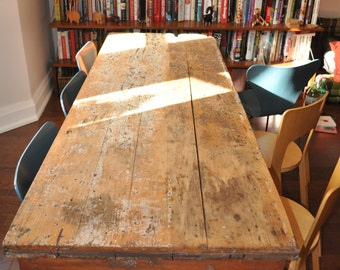 sale 19th Century Canadian 7ft Pine Harvest Table antique dining