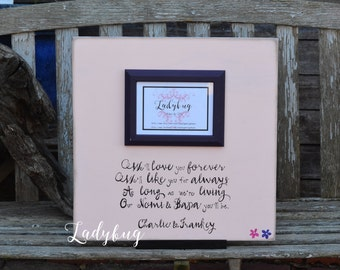 "We'll love you forever,we'll like you for always... Picture frame 18""x18"". Customize your own frame: parents, grandparents  by Ladybug"