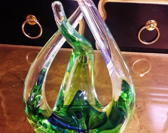 MURANO GLASS Free Form Sculpture Blue Green Gorgeous Condition Italian Glass Hand Crafted In Italy With Original Sticker