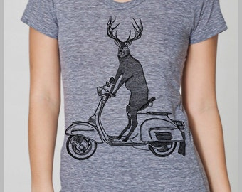 Women's T Shirt Deer on a Vintage Scooter Hipster Animal Gift Tee American Apparel Handmade Tshirt s, m, l, xl  8 COLORS