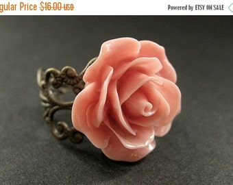 BACK to SCHOOL SALE Antique Pink Rose Ring. Pink Flower Ring. Filigree Ring. Adjustable Ring. Flower Jewelry. Handmade Jewelry.