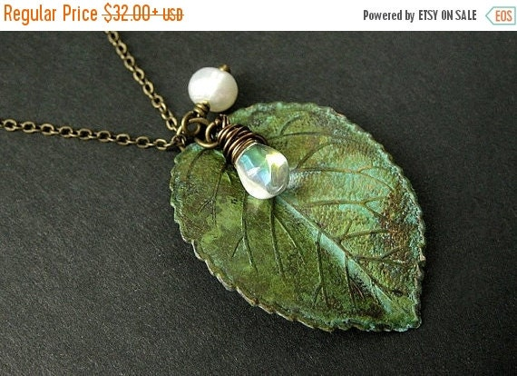 VALENTINE SALE Green Leaf Necklace. Charm Necklace with Fresh Water Pearl and Clear Teardrop. Handmade Jewelry.