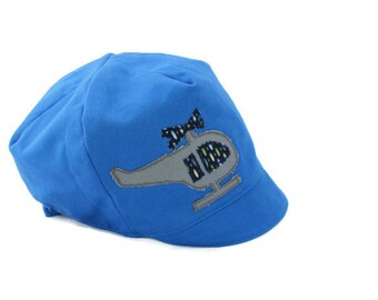 Boys Helicopter Hat, Blue Reversible Hat, Baby, Toddler or Kids Hat, XS S M