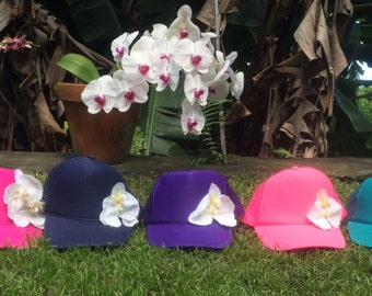 Orchid Trucker Hat Made with Aloha