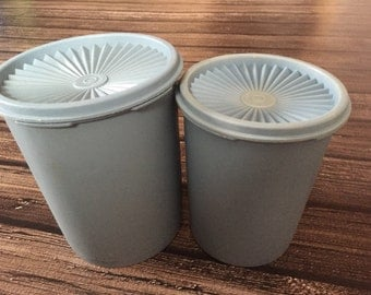 Vintage 1960s / 1970s Baby Blue Tupperware Canister Set of 2 Mod Retro Hipster Home Kitchen Storage