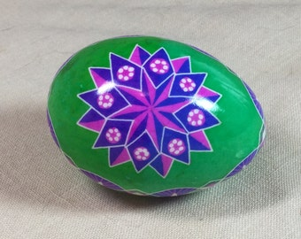 Green pink and purple star duck egg pysanka, pysanky for Easter