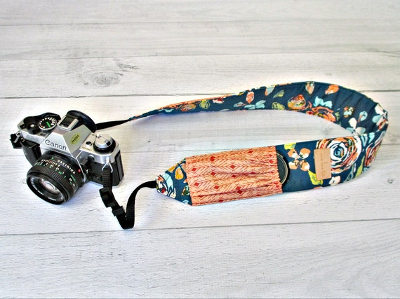 Floral Padded Camera Strap with Pockets | Teal DSLR Strap with Peach Lens Cap Pockets