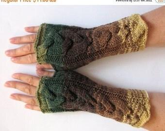 Fingerless Gloves Mittens wrist warmers Green Brown Beige