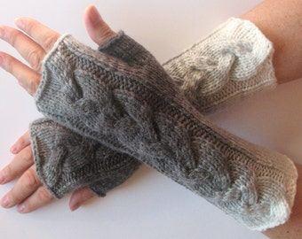 Fingerless Gloves Gray Black White Arm Warmers Knit Soft
