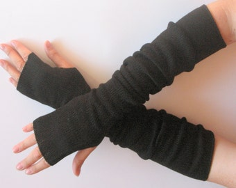 "Long Fingerless Gloves Black 20"" Arm Warmers Mittens Soft Acrylic Wool"