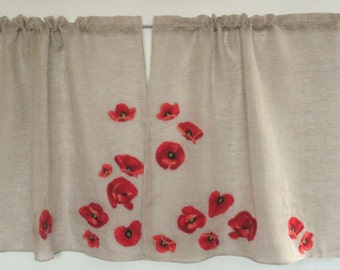 Curtain Burlap Curtains Cafe Curtains Natural Gray Red Poppy Linen Curtains Kitchen Curtains Shabby Chic Curtains Panels