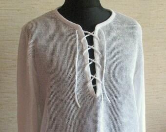 Man White Linen Shirt Top Sweater Clothing knitted summer
