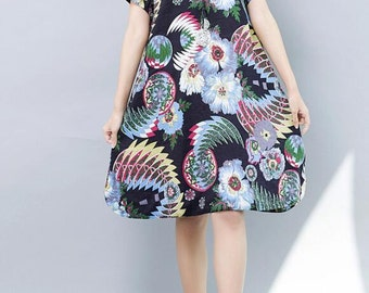 Women large size Long dress round collar loose fitting summer clothing