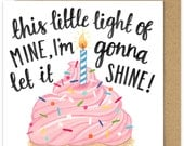 This Little Light of Mine Im Gonna Let It Shine Square Greetings Card. Christian Cupcake Birthday Card Hand Lettered Scripture. Pink Cupcake