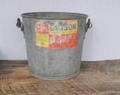 Vintage F.H. Lawson Galvanized Pail Bucket with Handle