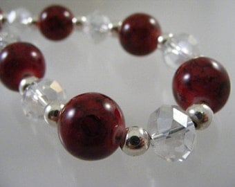Glowing Red Porcelain and Austrian Crystal Bead Necklace..... Lot 4475