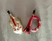 Christmas Ornaments Cello Bass Guitar French Horn Bugle Pink White Vintage Blown Glass Early Antique Musical Instruments