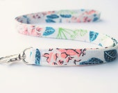 Lanyard With Swivel Snap, Floral Fabric, Pink and Evergreen