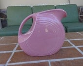 Vintage fiesta water pitcher disk pink rose Homer Laughlin 1950's serving kitsch