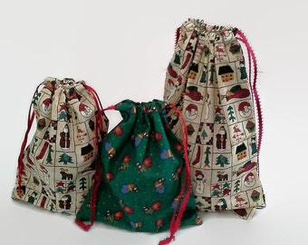 3 Christmas Drawstring Fabric Gift Bags, Mittens, Santa and More, Reusable, Sustainable