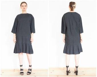 90s Minimal Black Oversize Drop Waist Dress