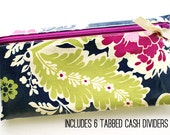 Cash envelope system budget wallet with 6 tabbed dividers | navy, pink, and green floral print laminated cotton with magenta zip