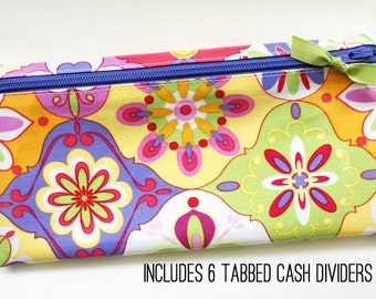 Slim wallet for cash envelope system | Dave Ramsey budget | multicolor laminated cotton