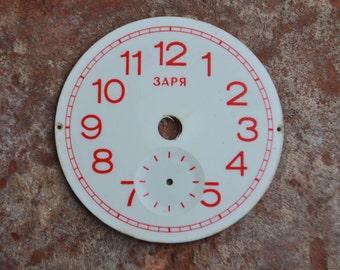 Vintage Soviet Russian ZARJA mini alarm clock face,dial.