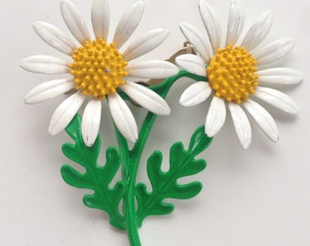 Double Daisy and Stem Brooch