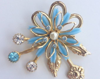 Blue & Gold toned Vintage Brooch