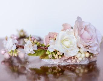 Spring Flower Crown - Flower Halo - Flowergirl hairpiece - Summer Wedding - Newborn Photo Prop - Wedding Crown - Floral Hairpiece