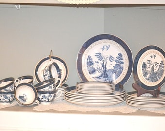 Vintage Nikko Double Phoenix Blue Willow Dinner Service