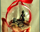 """Zombie Ornament Diorama, (lonely zombie shambles through graveyard) 4"""" diameter, #32 - """"Rough Day"""""""