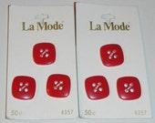 "La Mode Red Square Plastic Buttons Vintage Set of Six # 4357 3/4"""