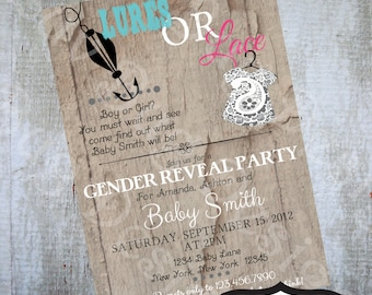 Lures or Lace Gender Reveal Party invitation Printable party invitations by Luv Bug Design